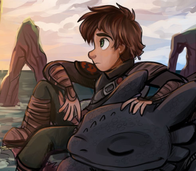 Fanart of Hiccup and Toothless from How To Train Your Dragon