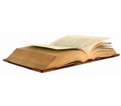Photograph of an open book.