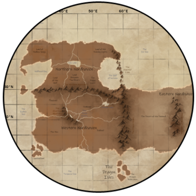 A circular section of the map for Nordhaven by DSW7.