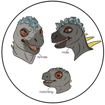 Male, female, and baby Salt-Sneezer merdragons